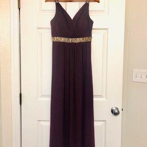 Calvin Klein Sleeveless Beaded Empire-Waist Gown